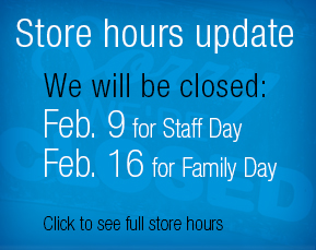 Store hours and closings updates