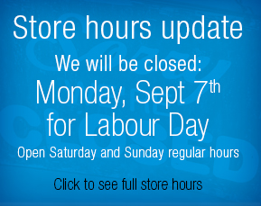 Store will be closed September 7th for Labour Day