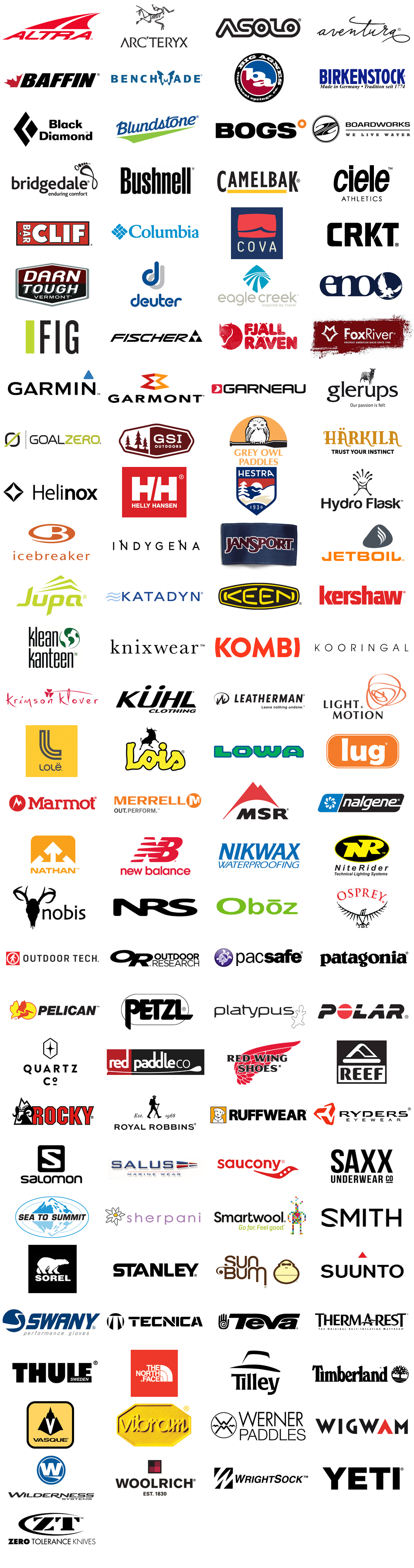 Some of the outdoor brands we carry