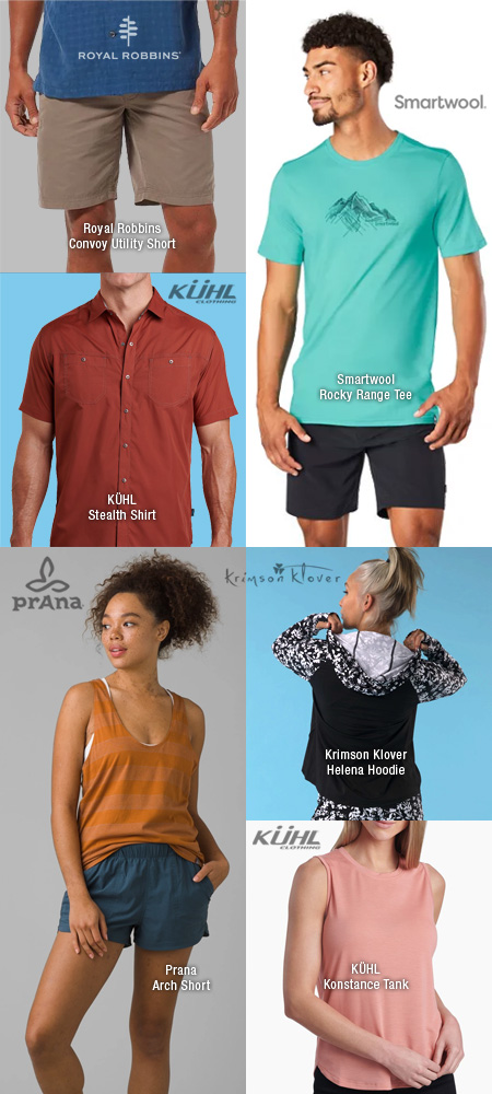 Sun protective tops, shorts and dresses