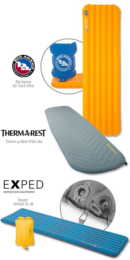 Sleeping pads from Big Agnes, Therm-a-rest and Exped