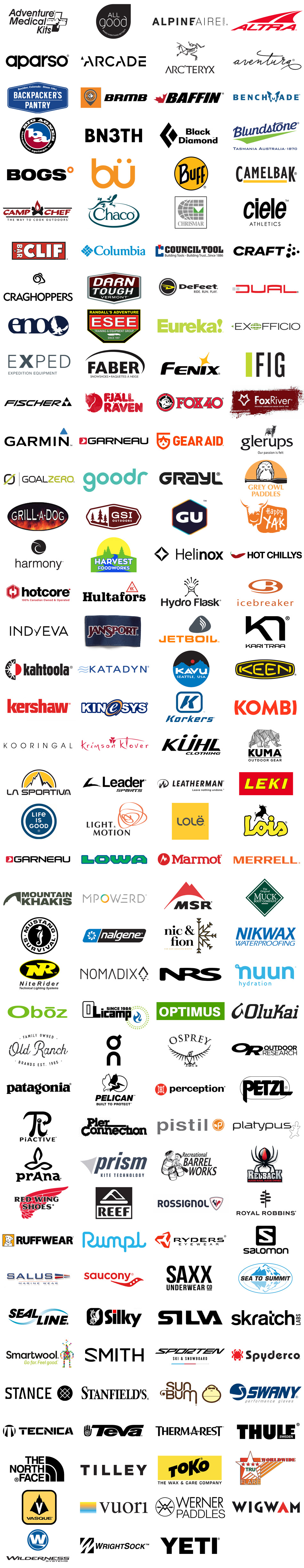 Brands we carry at Adventure Guide