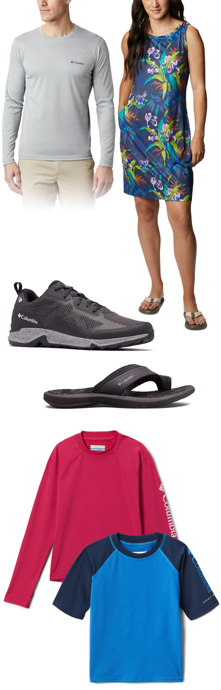 Columbia clothing, shoes and outdoor products