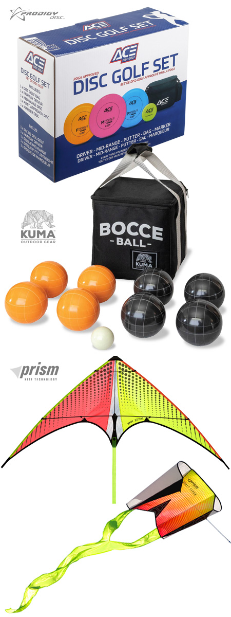 Outdoor Games products: disc golf, bocce ball, kite flying