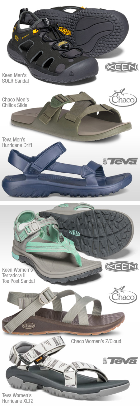 Sandals from Keen, Chaco and Teva