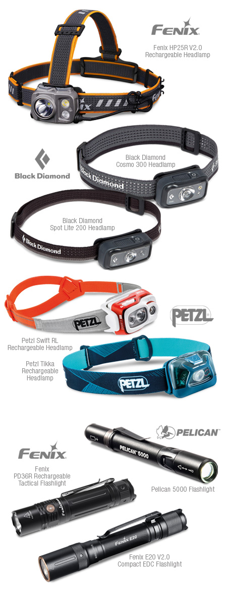 Outdoor headlamps and flashlights