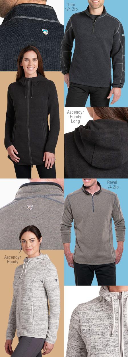 Kuhl fleece sweaters and hoodys