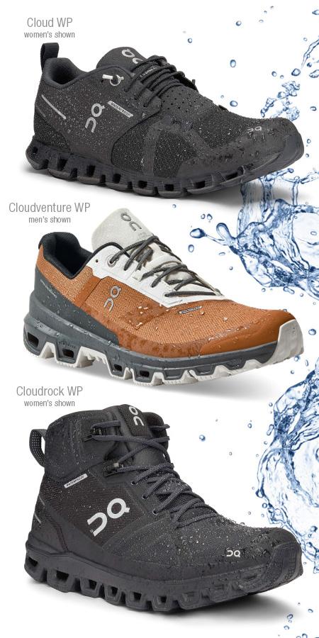 On Running Cloud, Cloudrock and Cloudventure waterproof footwear