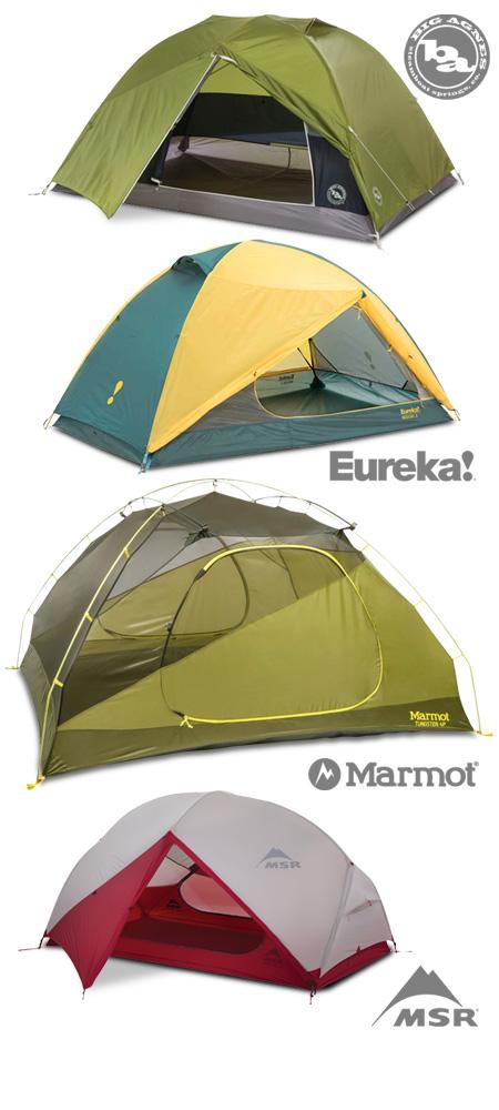 Tents from Big Agnes, Eureka!, Marmot and MSR