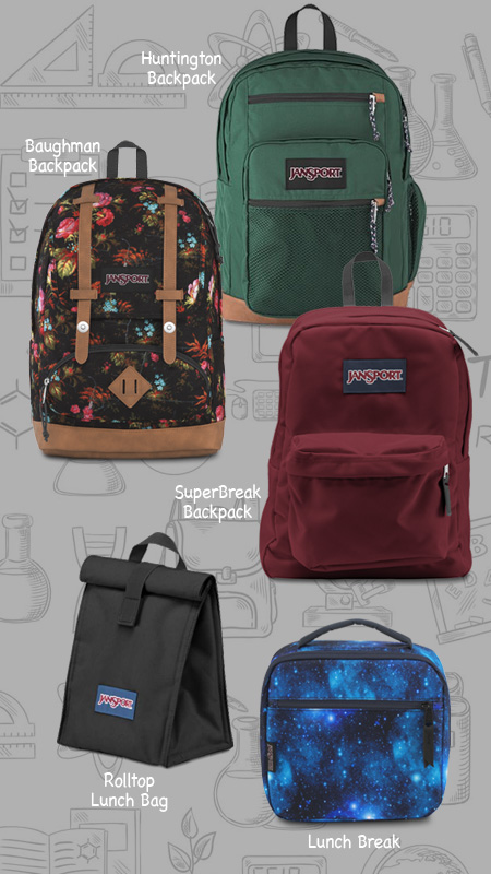 JanSport Huntington, Baughman and Superbreak backpacks