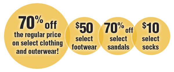Save on select footwear, sandals and socks