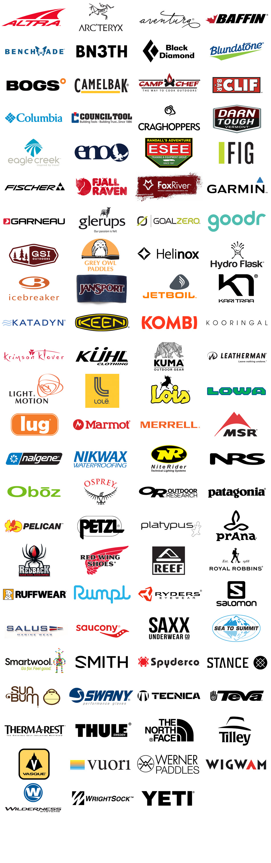 Brands we carry for technical outdoor clothing, footwear and gear